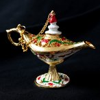 ランプ アラジンランプ オイルランプ 千夜一夜物語 アラビアンナイト 魔法 アラジンの魔法のランプ (11.5cm×8cm) アジアン インド アンティック 金属 製品