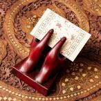 名刺 ネパールの名刺置き 赤 インド アジア カード カードホルダー 雑貨 エスニック