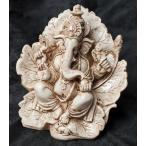 置物 ガネーシャ 神様 神様像 レジン インド リーフガネーシャ ホワイト 約16cm エスニック アジア 雑貨