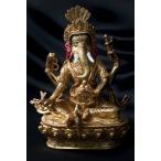 大聖歓喜天(ガネーシャ) 銅造鍍金仕上げ 20cm / 仏像 レビューでタイカレープレゼント