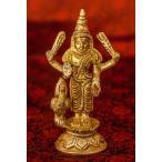 置物 ムルガン スカンダ Murugan Skanda クマーラ 韋駄天 ポスター ブラス製 高さ:約10cm インド 神様 エスニック アジア 雑貨