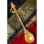 置物 孔雀のスプーン ピーコック 礼拝 ブラス製 高さ:約17.5cm アジア チベタン マニ エスニック インド 雑貨