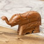 アニマル型立体ジグソーパズル ぞうさん / エスニック インド アジア 雑貨 おもちゃ トイ お土産 ベトナム 象 ゾウ