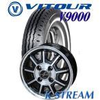 【ホワイトリボンタイヤ】軽トラック・軽バン用5.00R12LT VITOUR V9000  12X4.00B 4穴 PCD:100 BahnsTech KStream/バーンズテック Kストリーム