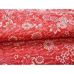 正絹ちりめん生地 単色柄 敷草花 赤 31cmX50cm 縮緬細工に最適な絹生地