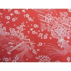 正絹ちりめん生地 単色柄  垣根に扇面 赤31cmX50cm 縮緬細工に最適な絹生地