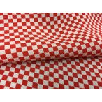 正絹ちりめん生地 単色柄 市松柄(赤) 31cmX50cm 縮緬細工に最適な絹生地