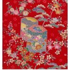 正絹ちりめん生地  多色柄 花に貝桶 赤 31cmX50cm 縮緬細工に最適な絹生地