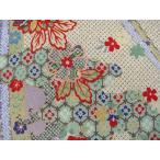 正絹ちりめん生地  多色柄 本疋田型絞りに菊花 紫 31cmX50cm 縮緬細工に最適な絹生地