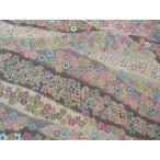正絹ちりめん生地  多色柄 小花道長文様 紫 31cmX50cm 縮緬細工に最適な絹生地