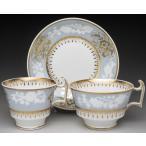 スポード 金彩レリーフ花絵 ティー&コーヒーカップ&ソーサー アンティーク 1820年代
