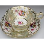 コールポート 金彩薔薇花束絵 カップ&ソーサー アンティーク 19世紀前半