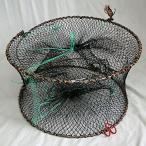 エビ・カニ・カメ 折りたたみ スプリング式 平置き もんどり (入り口3個タイプ) 高さ26cm 直径43cm