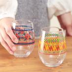 グラス タンブラー コップ キッチン 食器 夏 春 かわいい おしゃれ ギフト プレゼント 花柄 エスニック 幾何学柄 プリントボールグラス zfsjb2322