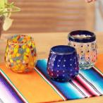 グラス メキシコグラス ロックグラス コップ ガラス クリア 食器 コップ クリア おしゃれ カラフル 水玉 ドット メキシコ ボウルグラス zismc2412