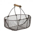 ヴィンテージ風 ワイヤー&ラタン 小判型 バスケットM ブラウン 511-019