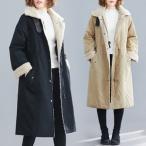 中綿コート モッズコート レディース アウター 中綿入れ コート ロング丈 裏起毛 ボア付き ゆったり 大きいサイズ 厚手 防寒 暖かい あったか 冬物 新作