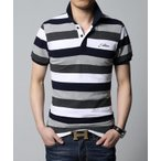 3色) メンズ 半袖 ボーダー ポロ シャツ POLO シンプル ポロシャツ ミリタリー M L XL XXL XXXL XXXXL