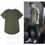 5色) メンズ ロング丈 レイヤード 半袖 Tシャツ 無地 シンプル 丈 長い 長 綿 ラウンド 大きいサイズ ロング インナー S M L XL LL XXL 2XL 3L XXXL 3XL 4L