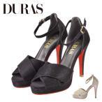 DURAS DR9910 デュラス 10cm以上 ヒール ストラップ サンダル 美脚 脚長 スナップ ボタン 赤底 レッドソール パーティ キャバ スナック
