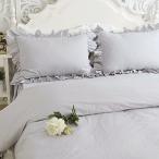 アンティーク風綿100% フリル模様枕カバー グレー (1枚入り)