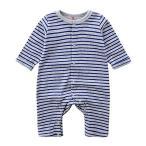DWSIOOW ベビー服 ボーダーロンパース 長袖ボディスーツ 新生児肌着 男の子 女の子 ロンパース カバ