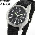 ポイント最大19倍 レビュー7年保証 SEIKO セイコー ALBA アルバ ソーラー AEFD557 国内正規品 メンズ 腕時計 黒 ブラック シルバー ナイロン