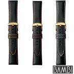 BAMBI バンビ カーフ 黒 ブラック BCM004 尾錠ゴールド スペアベルト 替えベルト 牛革 皮 ステッチ 腕時計 時計メンズ 18mm 20mm 22mm