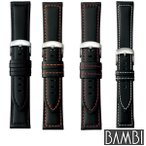 BAMBI バンビ 合成ラバー 黒 ブラック BGA001 尾錠シルバー スペアベルト 替えベルト バンド 腕時計 時計 メンズ 18mm 20mm