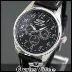 エントリーでP最大35倍 Charles Vogele シャルルホーゲル クオーツ CV-9075-3 アナログ メンズ 腕時計 ウォッチ 黒 ブラック 銀 シルバー 革バンド レザー