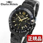 25日はP最大22倍! Charles Vogele シャルルホーゲル CV-9081-0 クロノグラフ セラミックベゼル メンズ 男性用 腕時計 黒 ブラック 金 ゴールド
