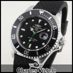 Charles Vogele シャルルホーゲル CV-9085-3 ダイバーズデザイン メンズ 腕時計 ウォッチ 黒 ブラック