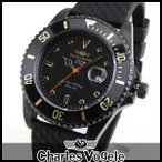 ポイント最大27倍 Charles Vogele シャルルホーゲル CV-9085-7 ダイバーズデザイン メンズ 腕時計 黒 ブラック