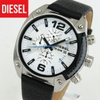 DIESEL ディーゼル クオーツ DZ4413 海外モデル Overflow オーバーフロー アナログ メンズ 腕時計 ウォッチ 黒 ブラック 白 ホワイト 革バンド レザー