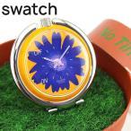 専用ケース訳あり Swatch スウォッチ FLOWER POWER フラワーパワー PUJ101 置時計 スタンド 花柄 オレンジ パープル 海外モデル