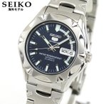 SEIKO セイコー 逆輸入 海外モデル 機械式 メカニカル 自動巻き SNZ447J1 5 SPORTS ファイブスポーツ メンズ 腕時計 ブルー シルバー メタル バンド
