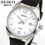 SEIKO セイコー 逆輸入 海外モデル SUR213P1 アナログ メンズ 腕時計 ウォッチ 黒 ブラック 白 ホワイト 革バンド レザー