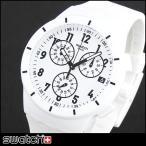 Swatch スウォッチ クロノグラフ SUSW402 海外モデル アナログ メンズ 腕時計 白 ホワイト シリコン ラバー バンド