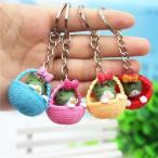 4個 ランダムミックスカラー かわいいバスケットと猫のキーリング チェーンペンダント 飾りバッグ カー用キーホルダー|装飾用ネックレス