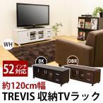 テレビ台/テレビボード 〔幅120cm/37型〜52型対応〕 ブラック 『TREVIS』 扉収納/キャスター付き〔代引不可〕