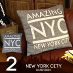 ビンテージ風クッション 大きい ビッククッション ソファ NEW YORK 55×55cm リビング ソファークッション 古風 モノクロ レトロ 雑貨 四角型 大人カジュアル