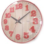 【40】 felio 壁掛け時計 ブリュレ レッド FEW181 R-Z ノア精密 連続秒針 お洒落 カジュアル 掛時計 音がしない かけ時計 アナログ