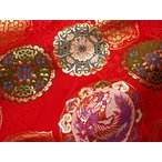 京西陣・金襴 生地 鏡鳳凰(赤) 【鳥柄 和柄生地 和柄 和風 よさこい 衣装 布 はぎれ 手芸 インテリア】