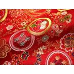 京西陣・金襴 生地 花に丸紋散らし(赤)  (和布 布 生地 和柄生地 和柄 和風)
