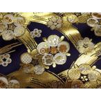 京西陣・金襴 生地 金地文に梅(紺)  (和布 和生地 和柄生地 和柄 和風)