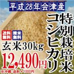 平成28年 会津産 特別栽培米 コシヒカリ 玄米 30kg ※沖縄は別途1000円