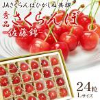 さくらんぼ 佐藤錦 Lサイズ 24粒 秀品 チョコ箱詰め