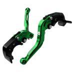 カワサキ(KAWASAKI)ZX-14R/ZZ-R1400 ブレーキ&クラッチレバー セット 可倒式 アルミ削り出し 緑(H88F88)