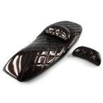 ヤマハ マグザム(MAXAM)SG17J・SG21J シート 2点セット ダイヤカット エナメル タイプA2 茶(ブラウン)