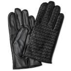 手袋 メンズ レザー 本革 ブラック 黒 黒色 編み込み イントレチャート KURODA(クロダ)